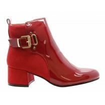 Red Patent And Faux Suede Side Zip Fastening Buckle Side Heel Ankle Boots