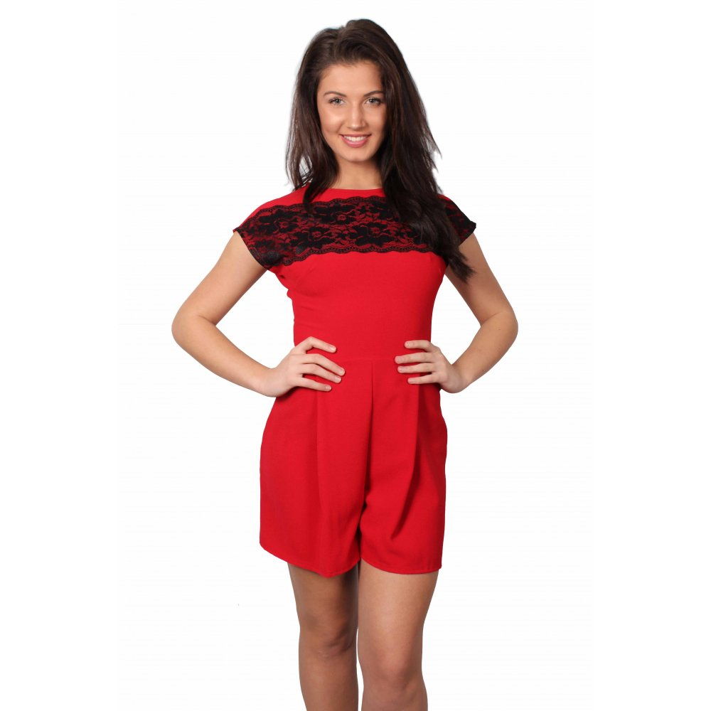 8873b21f346 Red Playsuit With Black Floral Lace Detail - Parisia Fashion