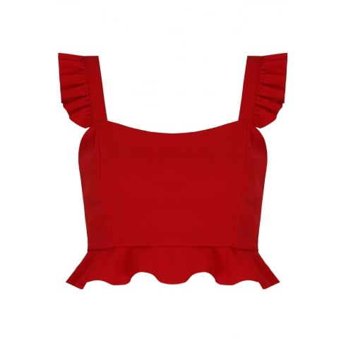 Red Pleated Strap Side Zip Crop Top