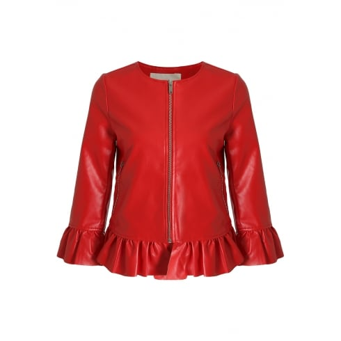 Red PU Leather Pleated Cuff And Hem Jacket