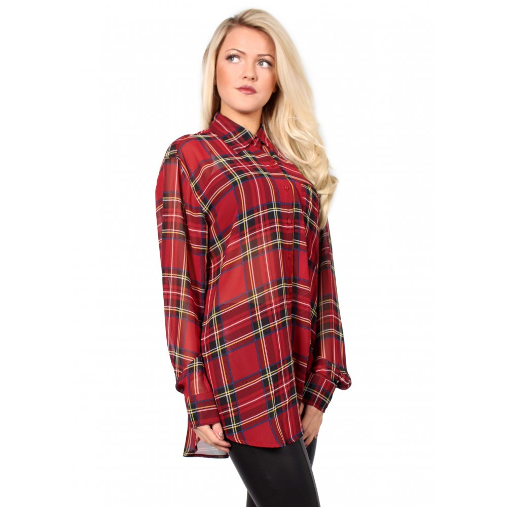 Chiffon plaid blouse collar blouses Womens red tartan plaid shirt