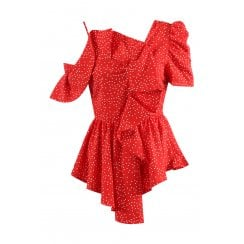 Red With White Polka Dot Asymmetric Frill One Shoulder Top
