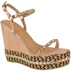 Rose Gold Barely There Studded Black Detail High Wedges