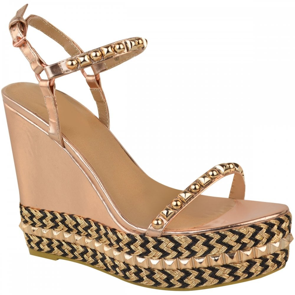 d1aba2b4f52 Rose Gold Barely There Studded Black Detail High Wedges