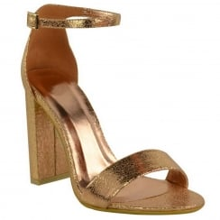 Rose Gold Crinkle Barley There Block High Heel