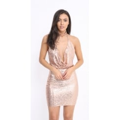 Rose Gold Open Back Sequin Low Neck Bodycon Dress