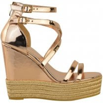 Rose Gold Open Strappy Cross Over Woven Look High Wedges