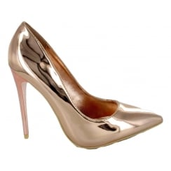 Rose Gold Pointy Stiletto Court Shoes