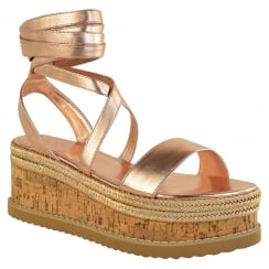 Rose Gold PU Leather Tie Up Lace Wedge Sandals