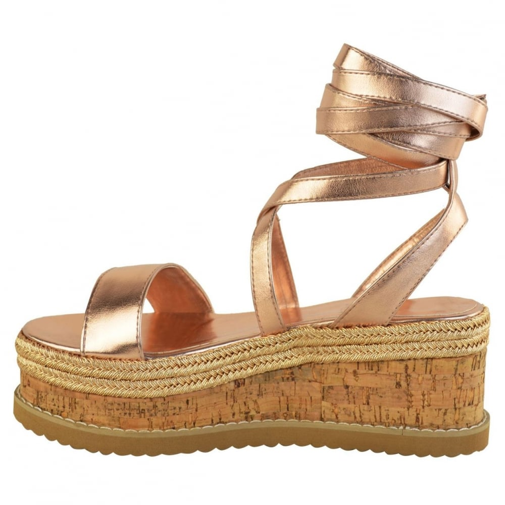 6e8502368a5b Rose Gold PU Leather Tie Up Lace Wedge Sandals