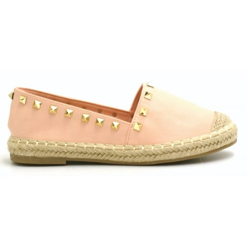 Rose Gold PU Leather Woven Look Sole Gold Studded Casual Shoes