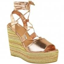 Rose Gold PU Tie Up Open Strappy Sandal Wedges