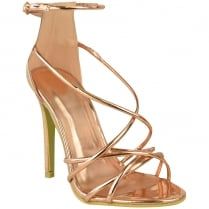 Rose Gold Strappy High Stiletto Heel