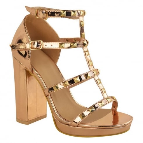 Rose Gold Studded Strappy Block High Heel Platform Sandals