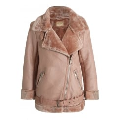 Rose Pink PU Leather Faux Fur Lined Collared Coat