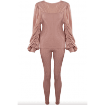 Rose Ruched Sleeve Kintted Loungewear Set