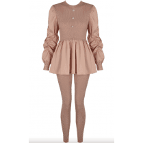 Rose Ruched Sleeve Knitted Peplum Top & Legging Set