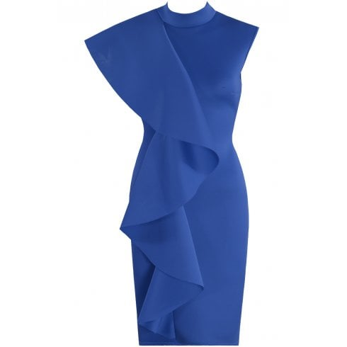 Royal Blue Side Ruffle High Neck Sleeveless Bodycon Midi Dress