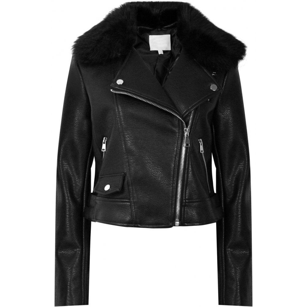 Black Leather Jacket With Fur Collar - JacketIn