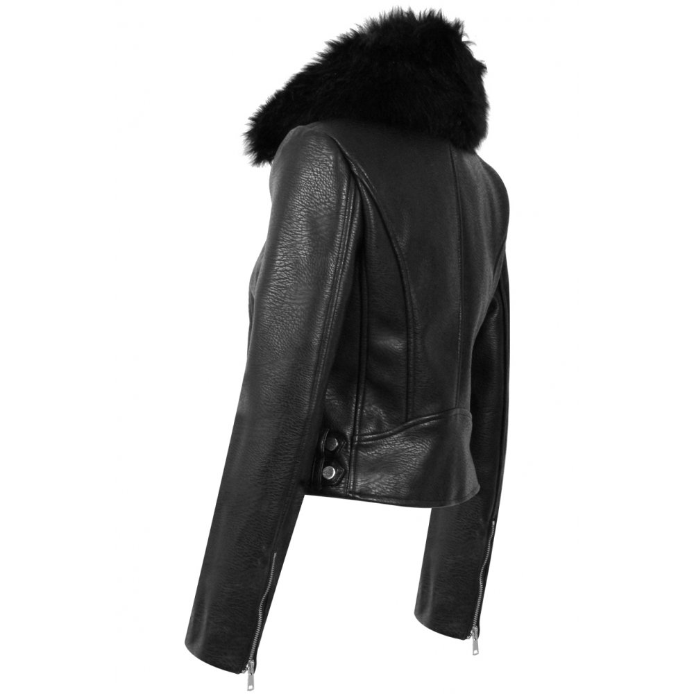 Black Leather Jacket with Faux Fur Collar - Parisia Fashion