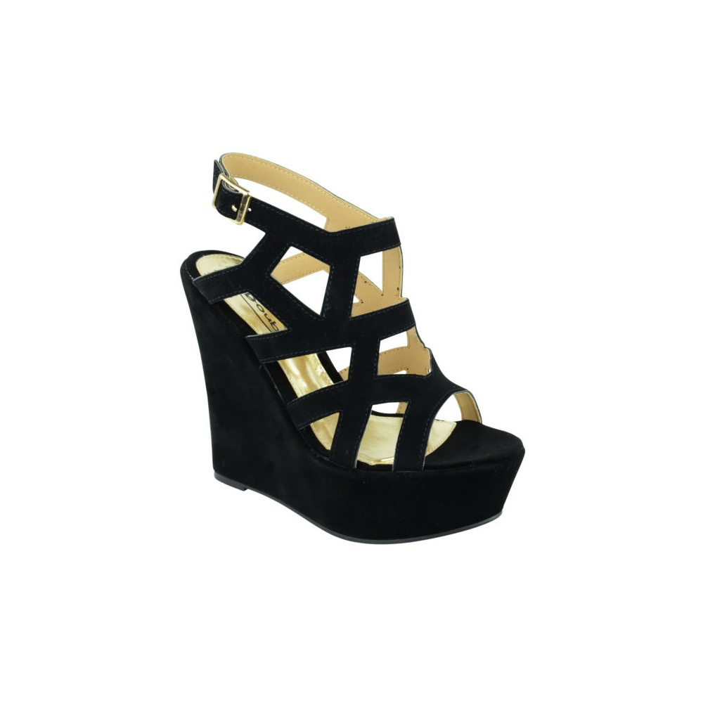 Black Cut Out Wedge Shoes