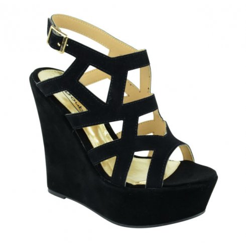 Sadie Black Suede Cut Out Wedges