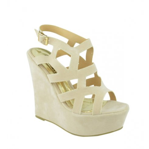 Sadie Light Cream Suede Cut Out Wedges