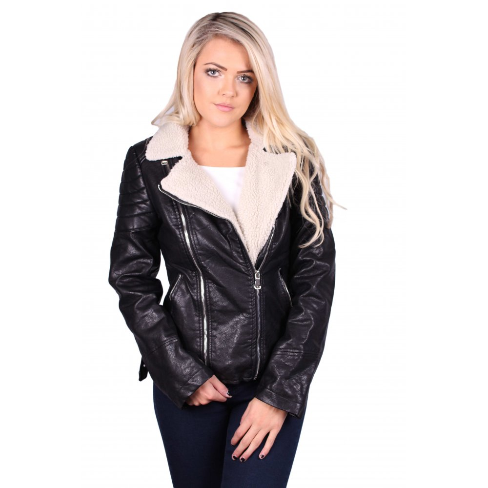 aeee8f14d5 Sally Black leather Cream Fleece Collar Biker Jacket - Parisia Fashion