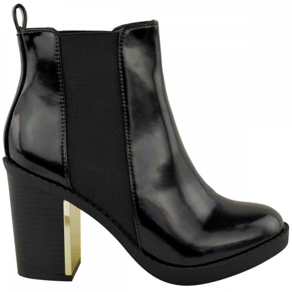 black patent block heel with gold detail ankle boots