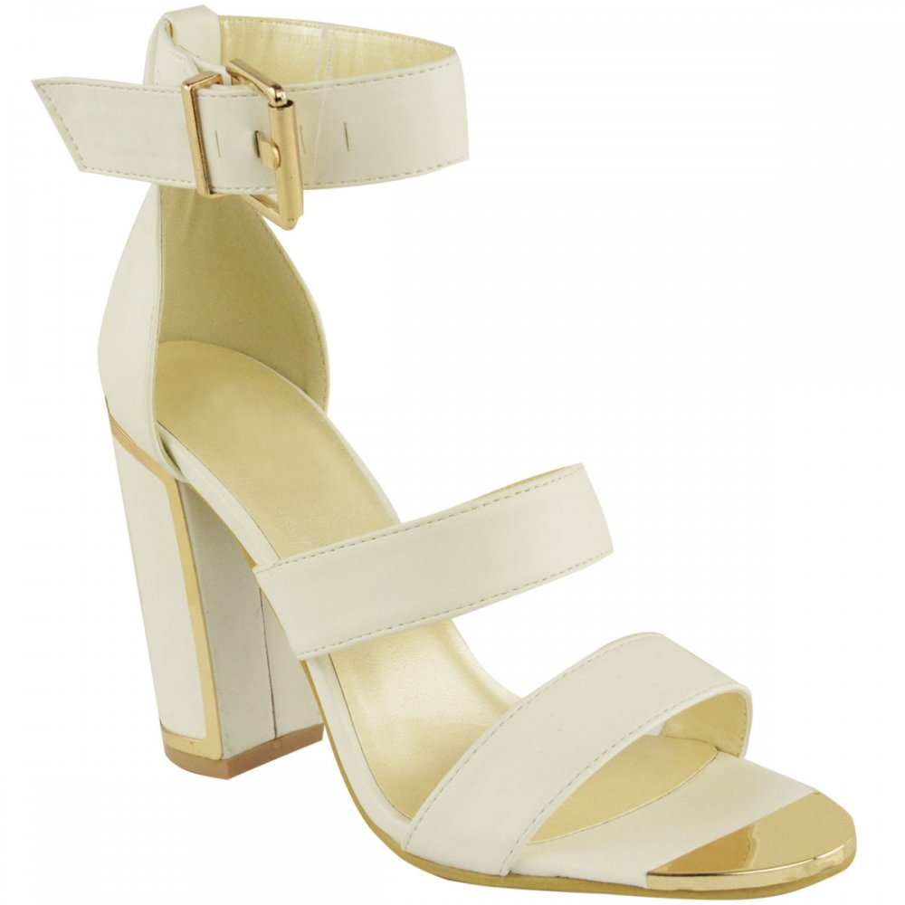 589b7f4727d Sarah White Block Heels Sandals With Gold Detail - Parisia Fashion