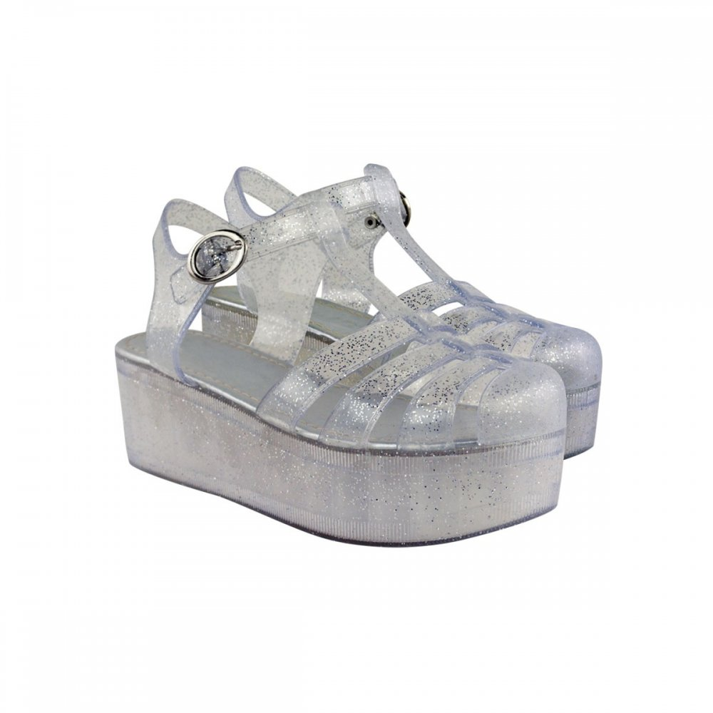 See Through Glitter Jelly Wedges From Parisia Fashion