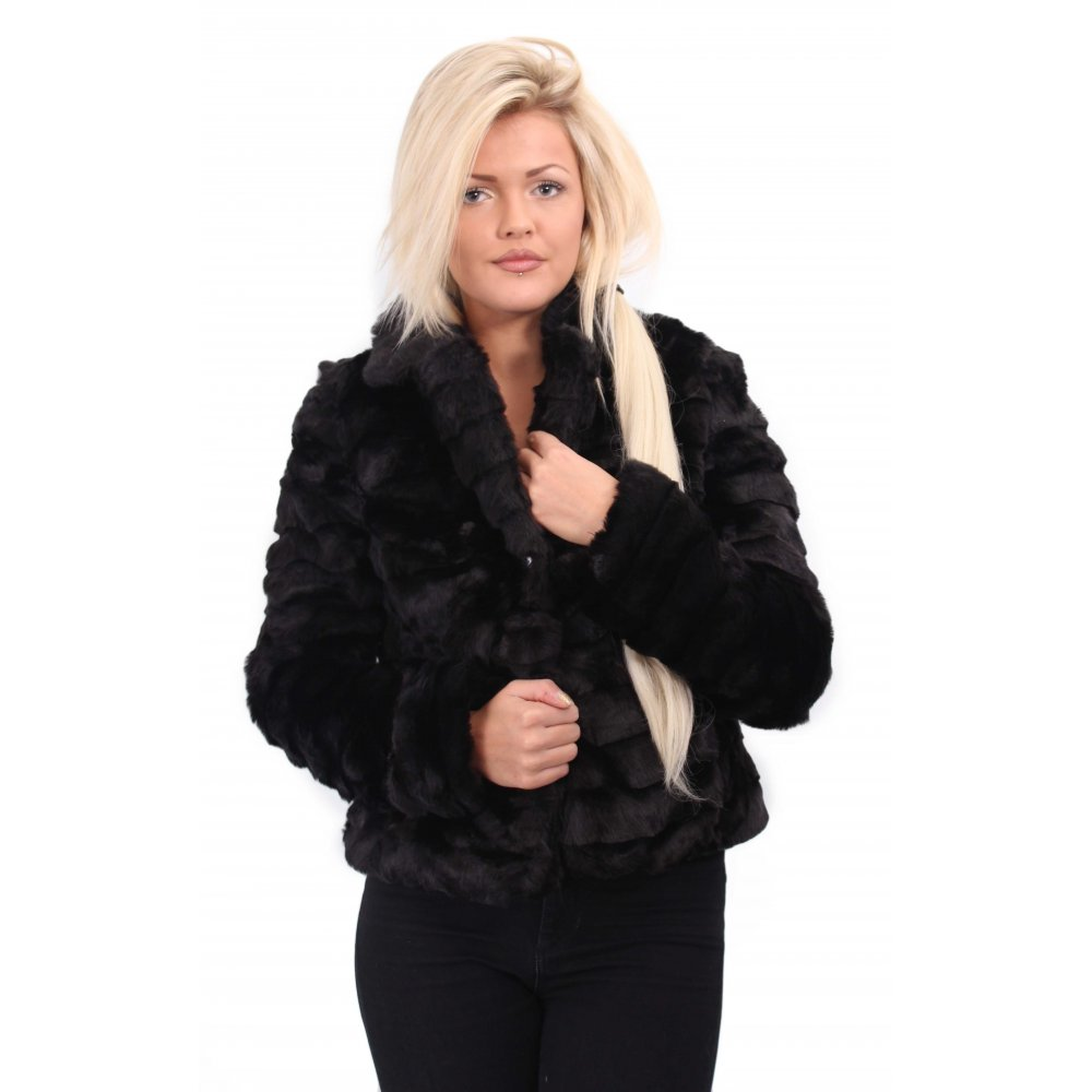 Short Layered Black Fur Coat