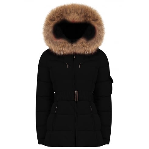Short Padded Coat with Racoon Fur Hood in Black