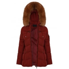 Short Padded Coat with Racoon Fur Hood in Burgundy