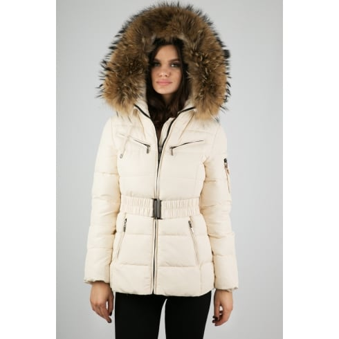 Short Padded Coat with Racoon Fur Hood in Cream