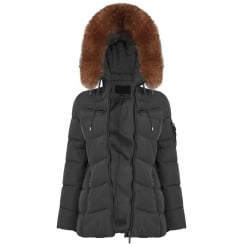 Short Padded Coat with Racoon Fur Hood in Grey