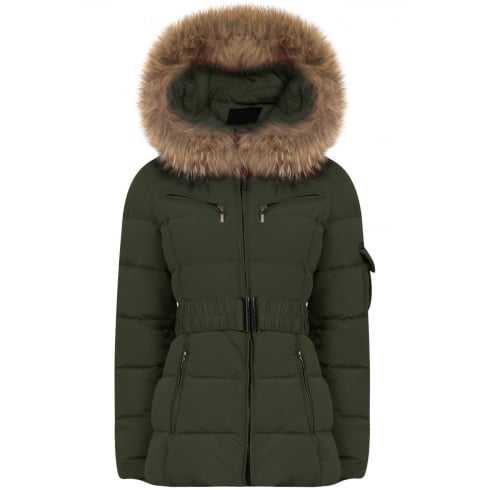Short Padded Coat with Racoon Fur Hood in Khaki
