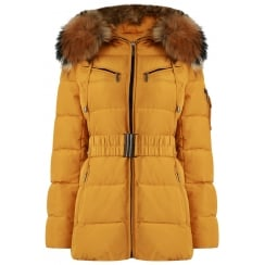 Short Padded Coat with Racoon Fur Hood in Mustard