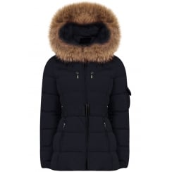 Short Padded Coat with Racoon Fur Hood in Navy