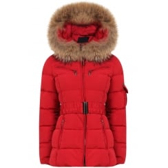 Short Padded Coat with Racoon Fur Hood in Red