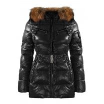 Short Padded Wet Look Shiny Coat with Racoon Fur Hood in Black