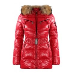 Short Padded Wet Look Shiny Coat with Racoon Fur Hood in Red