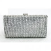 Silver Diamante Box Clutch