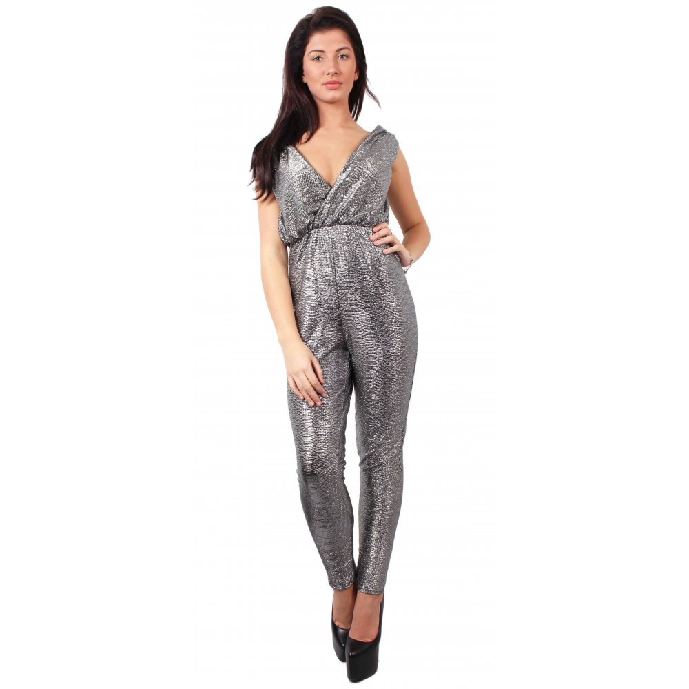 Silver Metallic Jumpsuit - Parisia Fashion