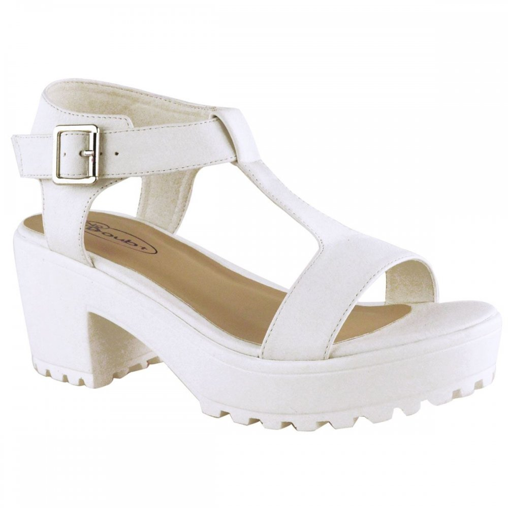 0927fa942a2 White Chunky Platform Cleated Sole Block Heel Sandals- Parisia Fashion