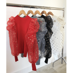 Spotty Puff Mesh Arm Jumper- Red Black White Cream Grey Beige