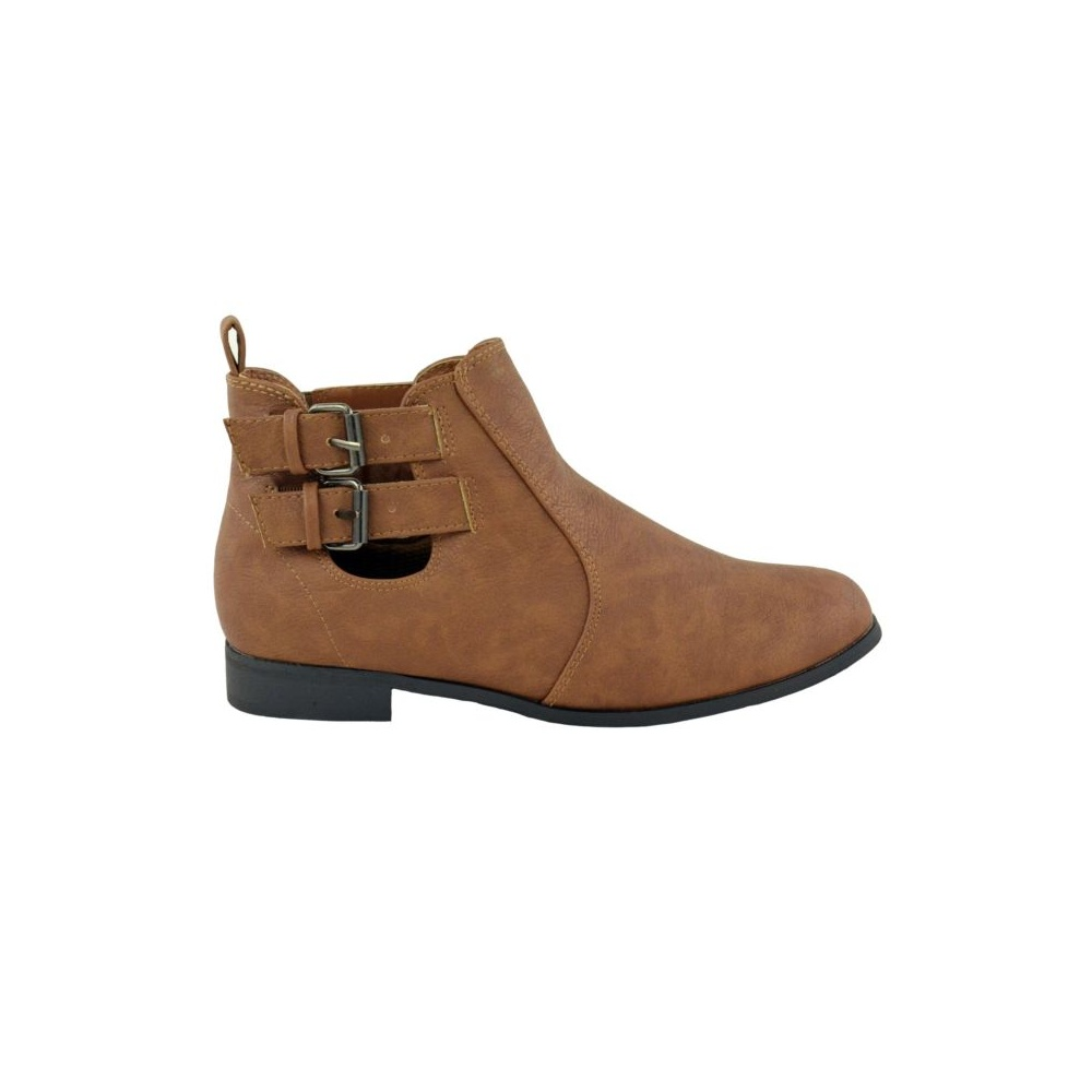 flat buckle ankle boots