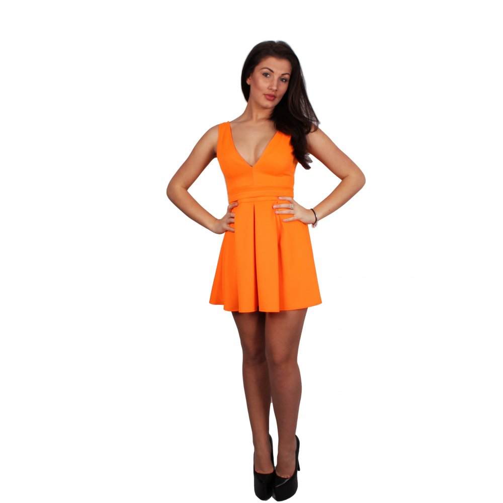 Taylor Fluorescent Orange Low V-Neck Skater Dress From Parisia Fashion