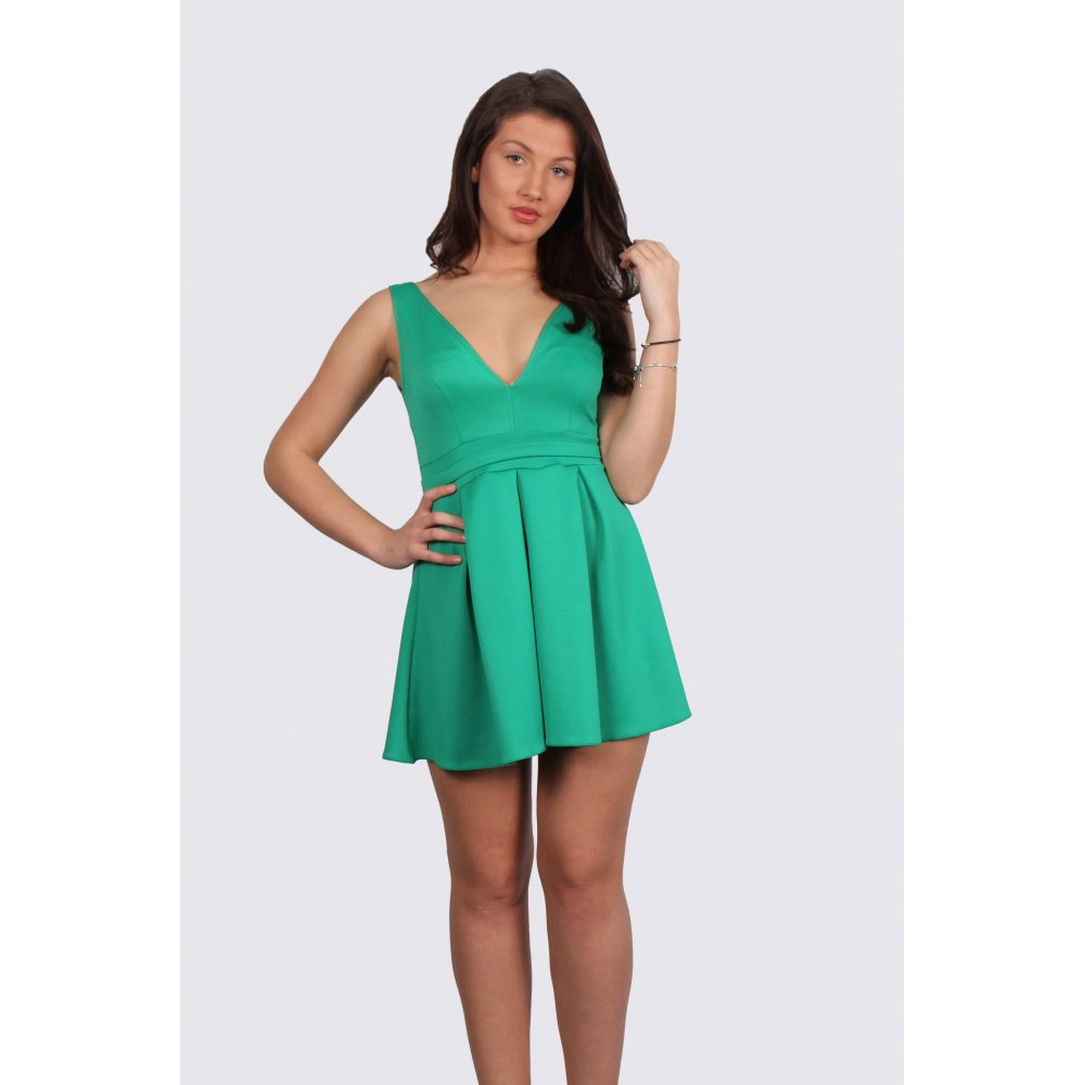Taylor Green Low V-Neck Skater Dress - Parisia