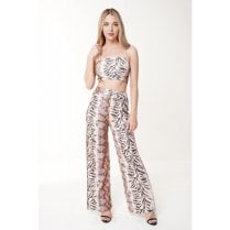 Tiger Print Wide Leg Trousers And Crop Top Two Piece